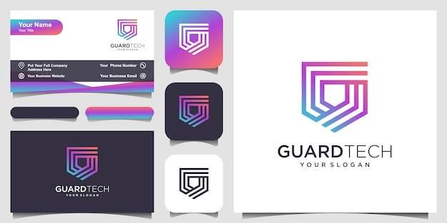 Creative shield concept logo mit strichzeichnungen. logo- und visitenkarten-design