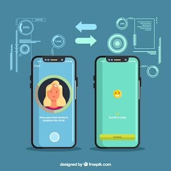 Creative smartphone gesicht id-konzept