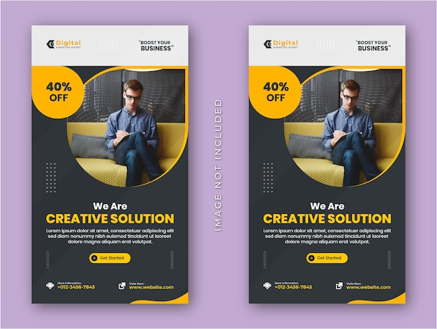 Creative solution agency und corporate business flyer instagram stories social media post oder webbanner vorlage