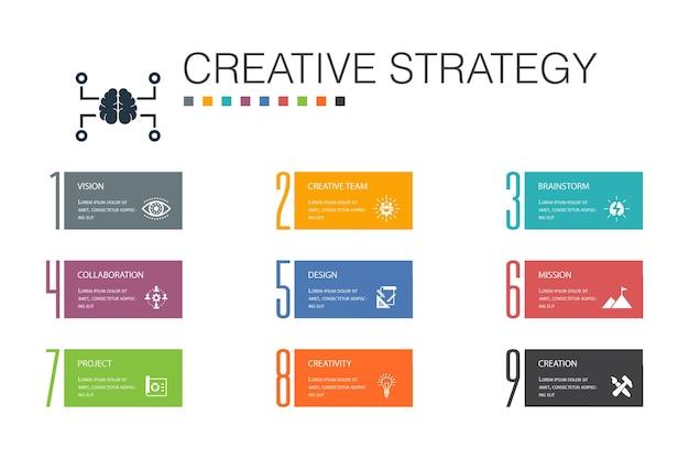 Creative strategy infographic 10 optionszeilenkonzept. vision, brainstorming, zusammenarbeit, einfache projektsymbole
