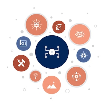 Creative strategy infographic 10 schritte bubble design.vision, brainstorming, zusammenarbeit, projekt einfache icons