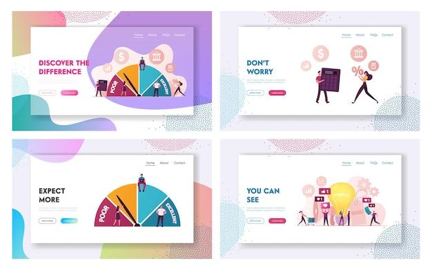 Credit score rating und brand awareness landing page template set.