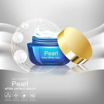 Creme glas für hautpflege produktkonzept white pearl extract hintergrund.