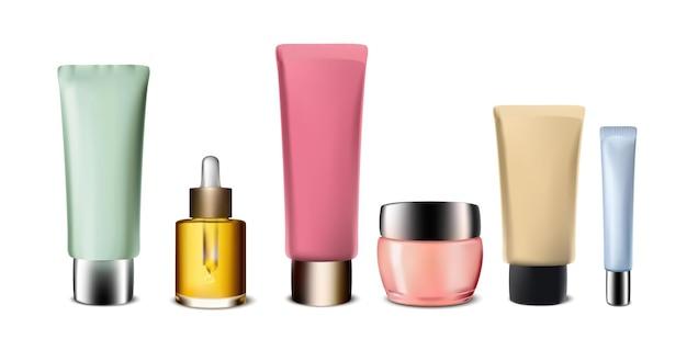 Creme set kosmetikkollektion auf weiß