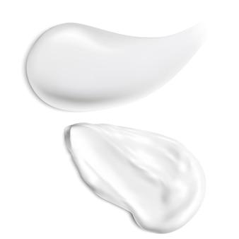 Creme textur. isolierte kosmetische creme schlaganfall, gesichtspflege gel.
