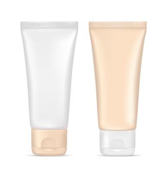Creme tube. kosmetikbehälter aus beigem kunststoff. verpackungsdesign, leere modellvorlage. abbildung 3d getrennt auf weißem hintergrund