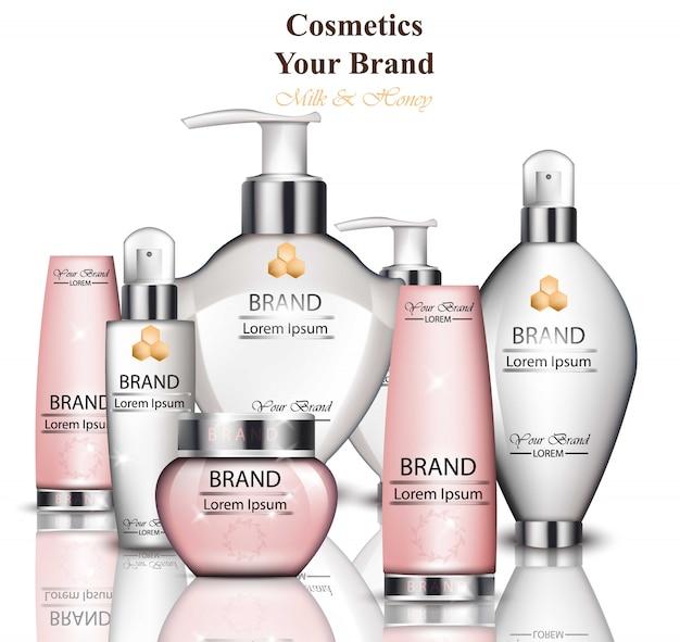 Creme und lotion kosmetik kollektion mit milch und honig extrakt. bio-behandlung für die hydration