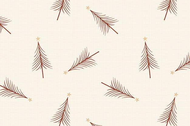 Creme weihnachtshintergrund, festliches baummuster im doodle-design-vektor