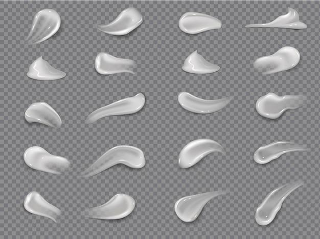 Cremestiche. natürlicher feuchtigkeitsspendender milchcreme-texturabstrich für gesunde gesichtshaut. vektorillustration isolierte kosmetik glatte tropfen feuchtigkeitscreme