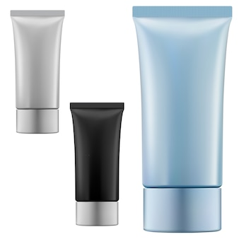 Cremetube. kosmetische quetschverpackung leer. realistische vorlage des kunststoffzahnpastabehälters. flexibler schönheits-make-up-behälter. handcreme produktbox, schaum, aftershave gel