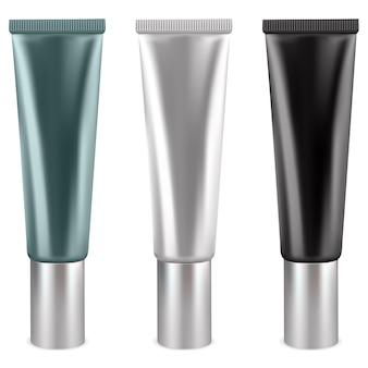 Cremetuben für kosmetiktuben in weißer, schwarz-grüner farbe