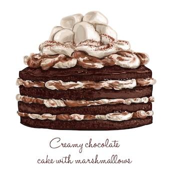 Cremige schokoladenkuchen mit marshmallows