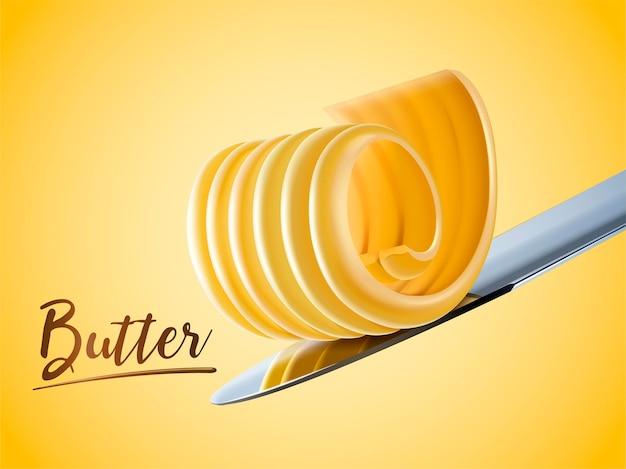 Cremiges butterelement, lockenbutter auf messer