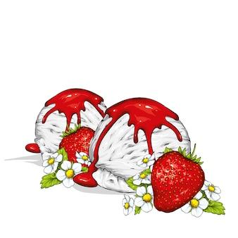 Cremiges eis mit beerenmarmelade. vektorillustration. erdbeere.