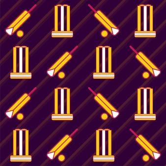 Cricket-ausrüstungsmuster auf lila streifen-hintergrund.