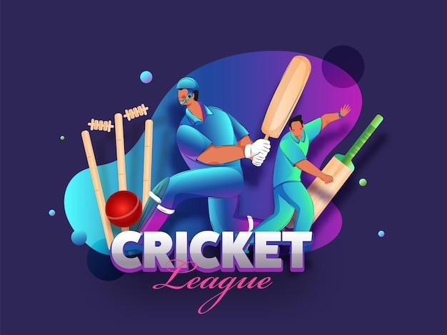 Cricket league-konzept mit cartoon-cricketspielern und realistischer ausrüstung auf violettem hintergrund mit farbverlauf.
