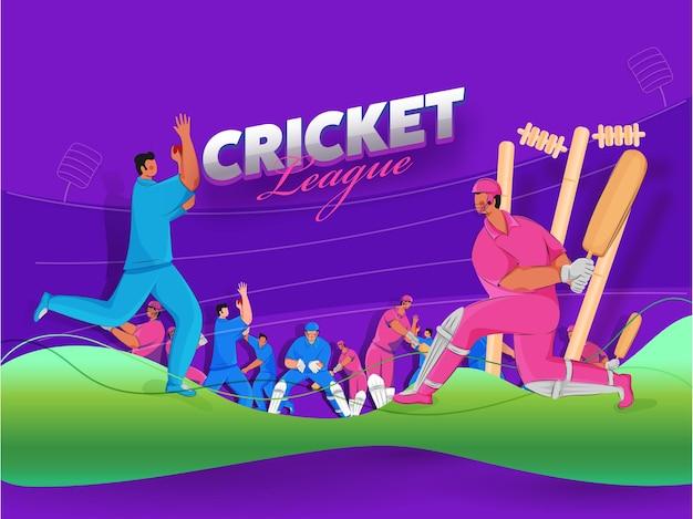 Cricket league poster design mit cartoon spieler charakter auf lila und grünem hintergrund.