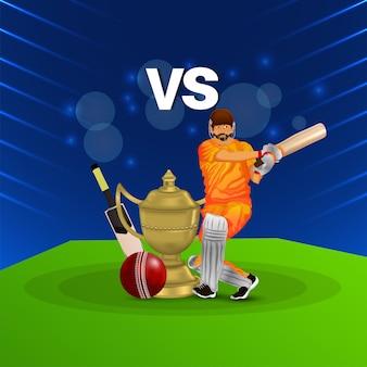 Cricket-ligaspiel mit illustration des cricketspielers