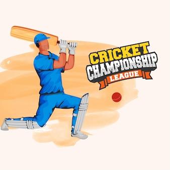 Cricket-meisterschaft-konzept mit gesichtslosem schlagmann beim spielen von pose und orange aquarell-pinsel-effekt auf weißem hintergrund.
