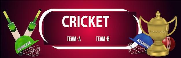 Cricket-meisterschafts-turnierbanner mit cricket- und cricket-ausrüstung
