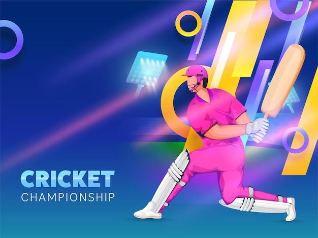 Cricket-meisterschaftskonzept mit cartoon-schlagmann beim spielen der pose auf glänzendem abstraktem hintergrund.