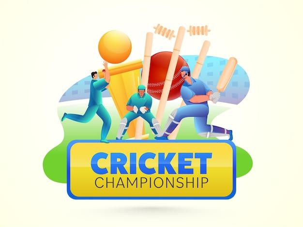 Cricket-meisterschaftskonzept mit cartoon-spielercharakter und goldenem trophäen-pokal auf gelbem hintergrund.