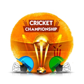 Cricket-meisterschaftskonzept mit cricket-helm und gewinnender pokal-trophäe auf abstraktem strichhintergrund