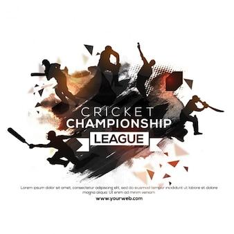 Cricket-poster mit silhouetten
