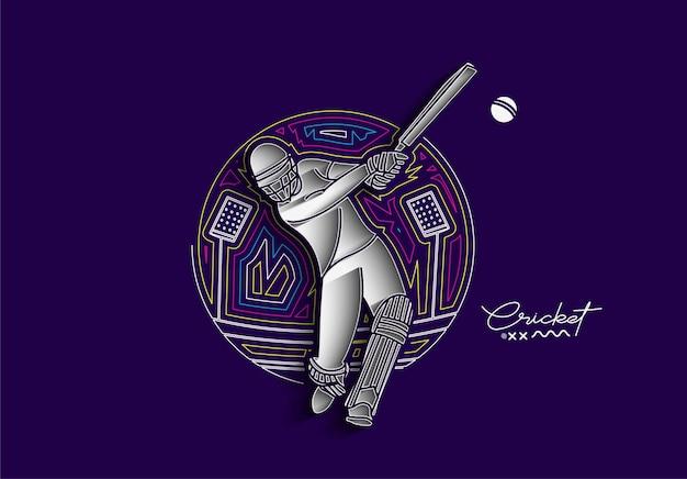 Cricket-regenbogen-flat-line-banner-schlagmann-meisterschaftshintergrund verwenden sie für die cover-poster-vorlage