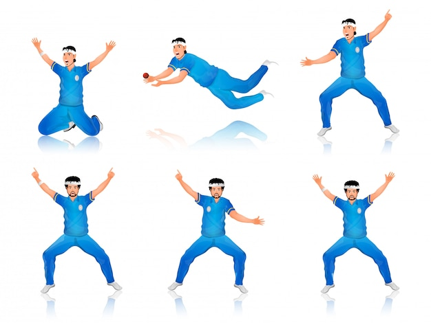 Cricket-schlagmann-charakter in verschiedenen posen.