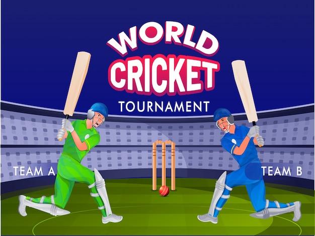 Cricket schlagmann von team a und team b auf nachtstadion boden