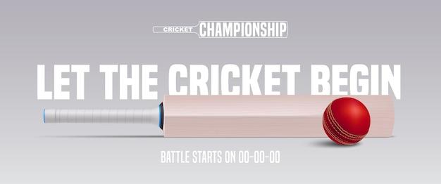 Cricket-spiel hintergrund. ankündigung des cricketspiels mit ball- und schlägerillustration