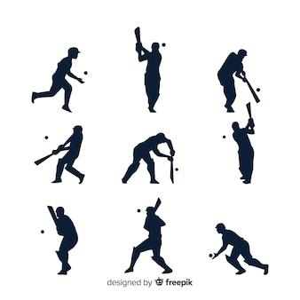 Cricket-spieler-silhouette-sammlung