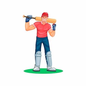 Cricket-spielerathlet-sportcharakterfigur in der karikaturillustration auf weißem hintergrund