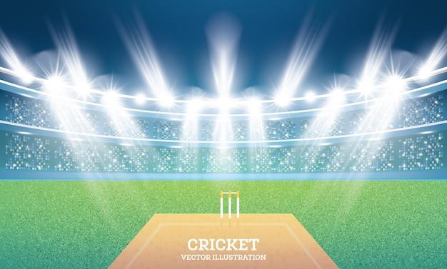 Cricket stadium mit scheinwerfern. illustration.