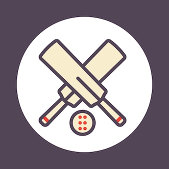 Cricket-symbol mit umriss