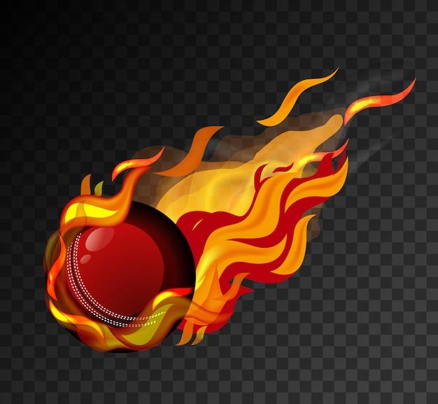 Cricketball mit großer flamme, die auf schwarzem hintergrund schießt