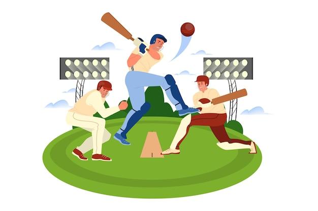 Cricketspieler, der einen schläger auf dem platz hält. cricket-spieler-training. athlet im stadion. meisterschaftsturnier, mannschaftssportkonzept. illustration