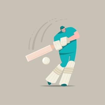 Cricketspieler mit schläger und ball. karikatur flacher charakter eines mannes, der im sportspiel lokalisiert auf einem hintergrund spielt.