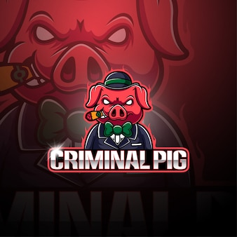 Criminal pig esport maskottchen logo