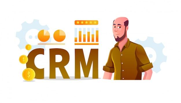 Crm (customer relationship management) -konzeptillustration mit unternehmensstatistiken und erwachsenen männern mit kahlem barthaar werden überprüft