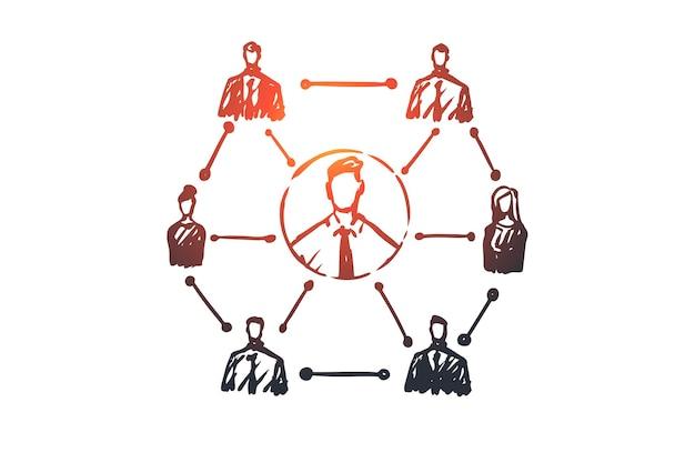 Crm, kunde, geschäft, analyse, marketingkonzept. hand gezeichnetes system der geschäftskonzeptskizze.