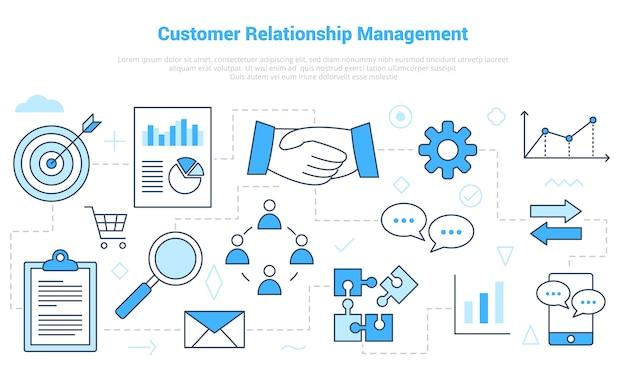 Crm kundenbeziehungsmanagement-konzept mit icon-set-vorlage mit modernem blauen farbstil