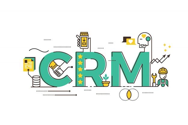 Crm: kundenbeziehungsmanagementwort, das typografiedesignillustration beschriftet