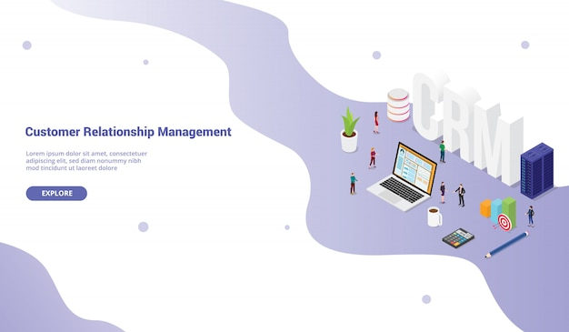 Crm-kundenbeziehungsmanagerkonzept für websiteschablonenfahne oder landungshomepage
