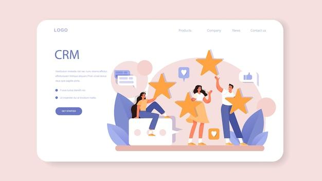 Crm- oder kundenbeziehungsmanagement-webbanner oder zielseite