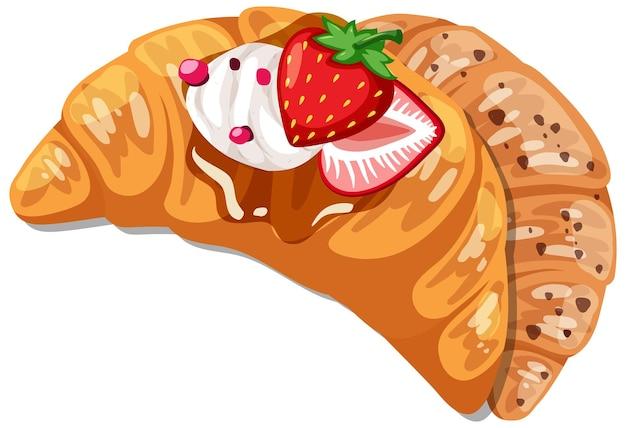 Croissant mit erdbeer-sahne-topping isoliert