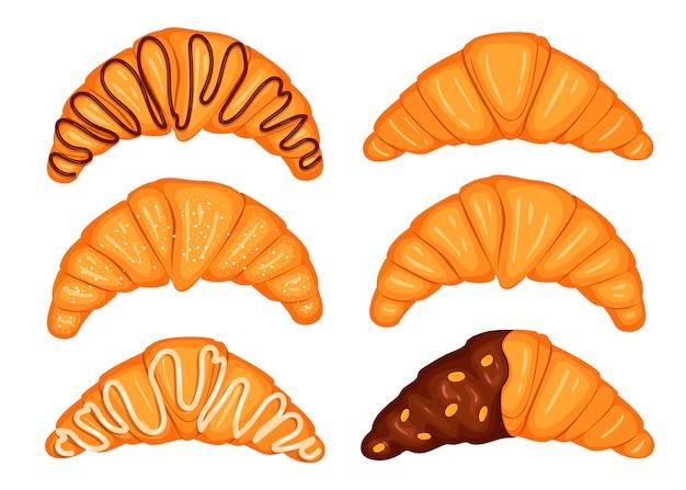 Croissants mit schokolade, weißem zuckerguss, karikaturillustration.