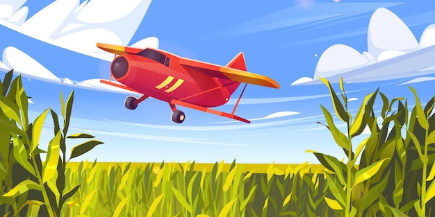 Crop duster flugzeug fliegt über grünes maisfeld farm flugzeug in blau bewölktem himmel landwirtschaftliche cropdus ...