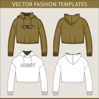 Crop hoodie fashion flats template
